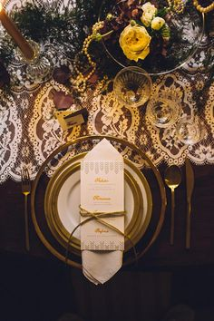 Gold place setting   A Stunning Autumn Wedding Inspiration Shoot Dripping with Deco Decadence from Honey and Cinnamon