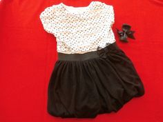 Soft, sweet and comfortable. This is a perfect dress for summer outings and events. Girl's 24 months dress in poly blend by George. The black skirt has elastic at the hem making it poofy and full. The white top has layers of ruffles with black polka dots, And, it comes with a black clip grosgrain hair bow! Ready to wear! #LittleGirls