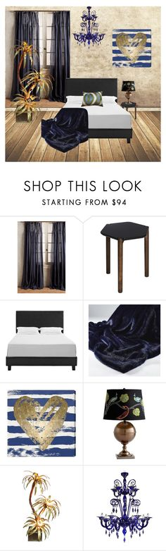 """""""Midnight Blue Bedroom"""" by fauxfurthrows ❤ liked on Polyvore featuring interior, interiors, interior design, home, home decor, interior decorating, Anthropologie, Umbra, Oliver Gal Artist Co. and Les-Ottomans"""