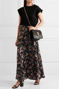 Isabel Marant - Peace Metallic Floral-jacquard Maxi Skirt - Black - FR40