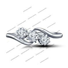 14k White Gold Fn 925 Sterling Silver Ladies New Fashion Round Three Stone Ring #Unknown #WomensThreeStoneRing