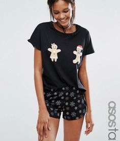 ASOS TALL Holidays Gingerbread Man Tee & Short Pajama Set – Multi. Tall Clothing for Tall Women at PrettyLong.com