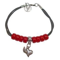 Braccialetto Cuor Leggero - Cuoio e perline rosse - Ciondolo con cuore alato - Red bracelet