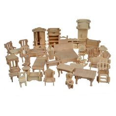 $33.99 - Cool 1SET=34PCS , BOHS Wooden Doll House Dollhouse Furnitures Jigsaw Puzzle Scale Miniature Furniture Models DIY Accessories Set - Buy it Now!