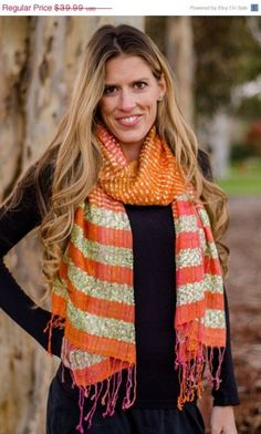 Orange Scarf with Green and Gold, Orange Scarf with Metallic Threading