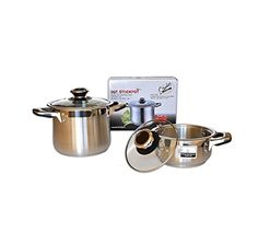 Home N Kitchenware Collection 3-Quart Stainless Steel Stockpot w/Glass Lid, Encapsulated Aluminium Base, Dishwasher Safe