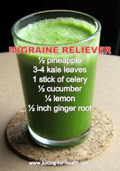 Migraine Reliever Juice Recipe Rich in Magnesium, Calcium and Potassium - 10 Homemade Migraine Remedies, Tips and Infographics