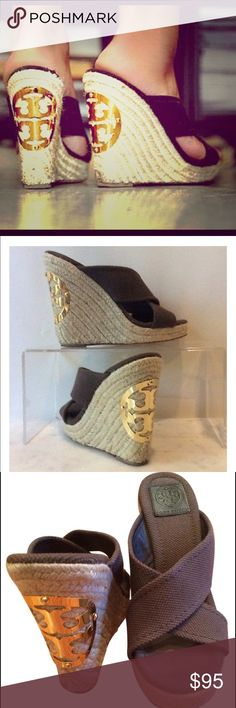 Tory Burch Kristen brown logo wedge 8 Tory Burch 'Kristen' wedge with brown linen thick fabric criss cross and gold Tory Burch classic round metal logo in gold on back of each shoe. Very cute in good condition. Tory Burch Shoes Wedges