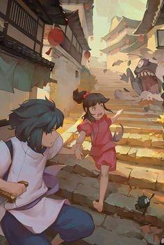 Spirited Away (���尋�神隠�) Studio Ghibli (Hayao Miyazaki) Anime Movie Studio Ghibli Films, Art Studio Ghibli, Fanarts Anime, Anime Films, Spirited Away Wallpaper, Personajes Studio Ghibli, Chihiro Y Haku, Howls Moving Castle, Hayao Miyazaki