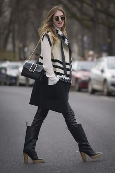Chiara Ferragni in Winter-ready black and white. #Streetstyle at Paris Fashion Week #pfw