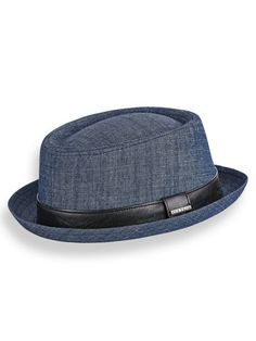 Stetson® Denim Pork Pie Hat - <p>  The classic pork pie style gets a cool update in cotton denim. Teardrop crown with a stingy 1¼
