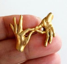 Vintage Sign Language Connect Two Hands Gold Tone Pin Has A Repair #NotSigned