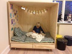 DIY - Det næsten færdige resultat - lege/læse hule til ungernes legeværelse.