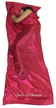 CRIMSON RED Single Silk Liner Sleeping Bag Sack Hostel - ebay