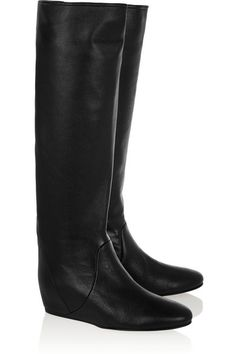 LANVIN Textured-leather wedge knee boots.