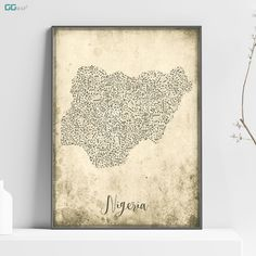 NIGERIA map - Nigeria Music map - Travel poster - Home Decor - Wall decor - Office map - Nigeria gift - GGmap - Nigeria poster Office Wall Decor, Wall Art Decor, Map Of Nigeria, New York City Map, Map Shop, Country Maps, Skyline Art, Custom Map, All Poster