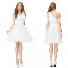 Bílé koktejlové šaty s širokou sukní