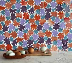 Glass Mosaic Backsplash - Flowers