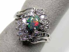 black opal ring 18k platinum ring, 16 diamonds sco 1236