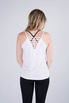Zobha's Jelena Strappy Singlet #activewear #tank #white #fashion
