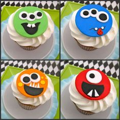 monster faces cupcakes