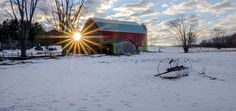 Boltonville Winter Sunset by John C Burzynski on Capture Wisconsin // I took this picture as I was heading home from Boltonville last Sunday.  I wasn't planning on it, but I noticed the sun peaking out from behind the barn and could not resist.