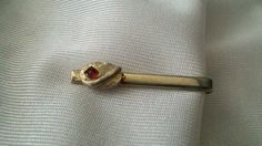 Vintage Tie Clip Gold Tone With Red Bead by CrazyDeeDee on Etsy, $6.00