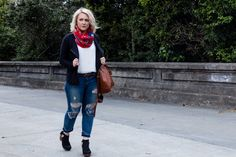 I could live in this outfit. These Free People clogs, LOFT scarf and tank, and Madewell bag make up the perfect San Francisco Spring outfit.   Non Basic Blonde | San Francisco Style Blog