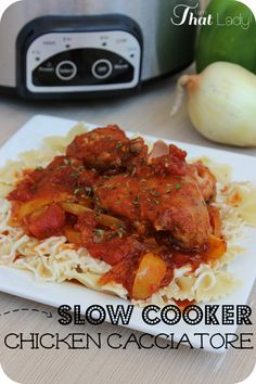This Slow Cooker chicken Cacciatore recipe is AMAZING! Set and forget it and your friends will never guess how easy it is!