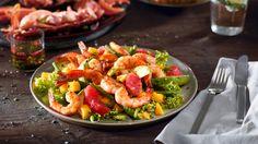 Salat mit Garnelen und Tratsch