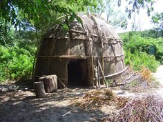 When you're at the Plimoth Plantation,  walk down to the nearby Wampanoag Indian Village and sit in here and learn about Hobbamock's Homesite. It's really interesting.