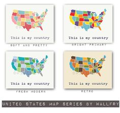 Large world map print SET of 2 map prints. USA map and world map poster wall art for playroom, kids wall art. Map prints by WallFry Map Nursery, Nursery Prints, Nursery Ideas, Nursery Decor, Maps For Kids, World Map Poster, United States Map, Playroom Decor, Us Map