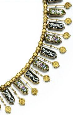 Italian micro mosaic necklace, circa 1830.