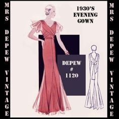 Vintage Sewing Pattern Evening or Wedding Gown in Any Size Depew 1120 - PLUS Size Included -I Wedding Evening Gown, Vintage Evening Gowns, Evening Dresses, Wedding Dresses, Vintage Gowns, Wedding Attire, Gown Pattern, Dress Patterns, Belle Epoque