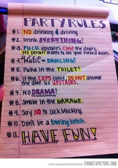 party rules lol