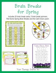 Brain Breaks Spring only $0.99 until 3/12/15 http://www.yourtherapysource.com/brainbreaksspring.html