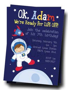 Astronaut Space Birthday Party Invitations: Printable Kids Invite