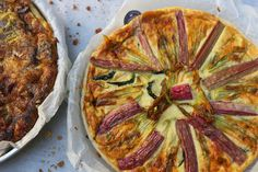 Rhubarb and zucchini flowers quiche by California Bakery