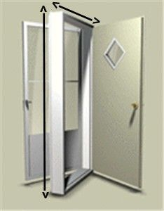 """38"""" x 76"""" Kinro Combination Exterior Door with 9 Lite Window and White Self Storing Storm   Mobile Home Parts Store"""