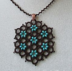 tatting pendant, autumn blooming, original design, necklace and earrings set, brown and turquoise, handmade jewelry,