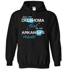 Just An Oklahoma Girl In A Arkansas World T-Shirts, Hoodies. Check Price ==> https://www.sunfrog.com/Valentines/-28OKJustXanh001-29-Just-An-Oklahoma-Girl-In-A-Arkansas-World-Black-Hoodie.html?id=41382