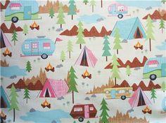 Camping Scenic Tent Trailer Cream Timeless Treasures Fabric Yard