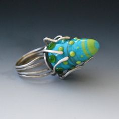 Silver and Glass Ring, via Etsy.