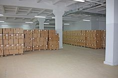 Photo about Set of brown cardboard boxes in warehouse, photo storage background. Image of shopping, cargo, closed - 15320058