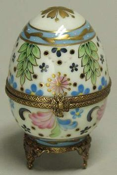 Floral Faberge Egg, France, Hinged Box, Hand  Painted  Replacements, Ltd.