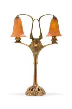 Georges DE FEURE (1868 - 1943) et DAUM Nancy  - Lampe en bronze à patine dorée, à [...], L'Europe de l'Art Nouveau at Millon et Associés Paris
