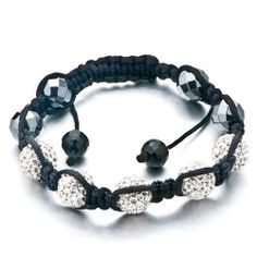 Pugster Unisex Crystal Disco Ball Friendship Bracelets Adjustable (5 White)crystal Swarovski Crystal Stone Balls Bracelet (36 Colors To Choose From) Pugster. $69.49. Weight (gram): 91. Metal: CZ Bead ,cotton string. Size (mm): 294*10.54*12.25. Color: white