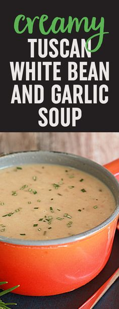 Creamy Tuscan Bean Soup with Rosemary & Garlic recipe - This hearty vegetarian soup tastes rich and creamy and is super easy to make. Vegan option.