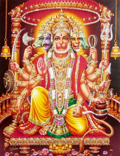 Panchamukhi Hanuman - Glitter Poster - Hindu Posters (Reprint on Paper - Unframed) Dimensions Universe, Hanuman Ji Wallpapers, Hanuman Photos, Hindu Symbols, Shri Hanuman, Pooja Room Design, Lord Krishna Images, Goddess Lakshmi, Hindu Art
