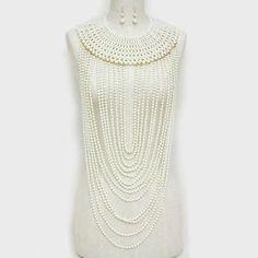 Long-Pearl-Necklace-Body-Chain-CREAM-Pearl-Long-Bib-Choker-Statement-Jewelry